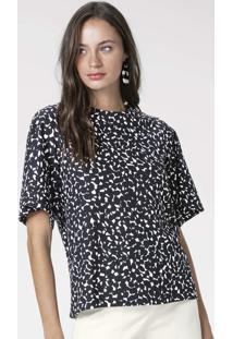 Blusa Estampada Em Malha De Algodão Com Mangas Fluidas