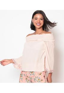 Blusa Ciganinha Texturizada - Rosa Claro - Linho Finlinho Fino