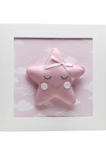 Quadro Decorativo Estrela Com Carinha Quarto Bebê Infantil Potinho De Mel Rosa