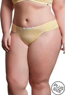 Calcinha Plus Size Dukley Lingerie Detalhes Em Guipir Feminina - Feminino-Amarelo
