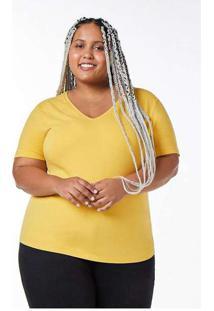Blusa Básica Feminina Gola V Amarelo