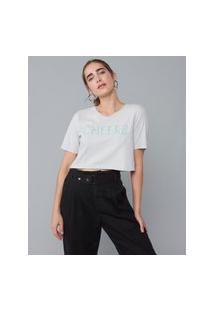 Amaro Feminino T-Shirt Cropped Bordado Cheers, Gelo