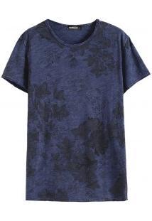Camiseta Masculina Com Estampa Tropical - Azul Marinho