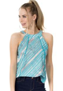 Blusa Estampada Com Recorte Azul