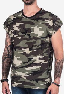 Camiseta Hermoso Compadre Oversized Sleeveless Masculina - Masculino-Verde Militar