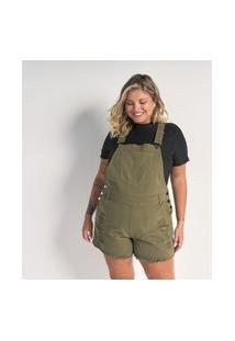 Jardineira Sarja Militar Curta Com Puídos Curve E Plus Size Verde