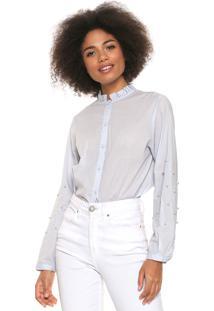 Camisa Lily Fashion Aplicações Azul