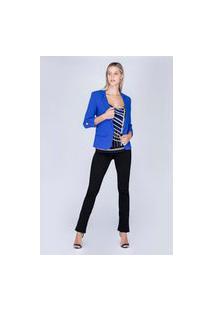 Blazer Com Martingale Azul Azul