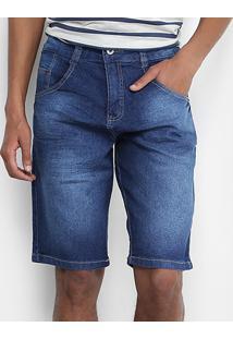 Bermuda Jeans Biotipo Elastano Estonado Masculina - Masculino-Azul