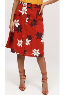 Saia MãDi Floral Com Recortes - Vermelha & Branca- Mmiliore