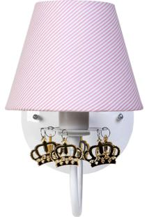 Arandela 1 Lâmpada Com Coroa Dourada Bebê Infantil Menina Potinho De Mel Rosa