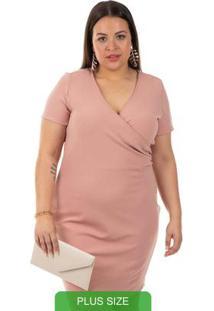 Vestido Com Decote V Rosa Gris Plus Size