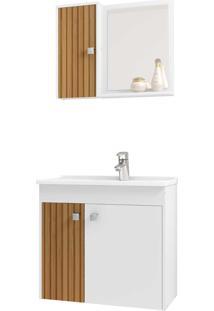 Gabinete Banheiro Munique C/ Cuba E Espelheira Branco Móveis Bechara
