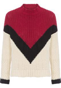 Blusa Feminina Tricot Geométrico - Vermelho