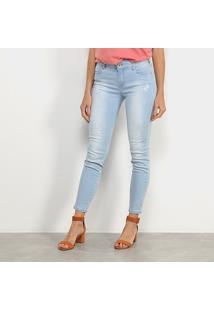 Calça Jeans Skinny Colcci Cory Delavê Estonada Puídos Cintura Média Feminina - Feminino-Azul Escuro