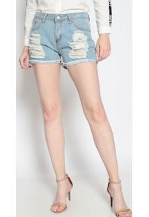 Short Jeans Destroyed- Azul Claro- Le Fixle Fix