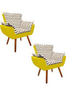 Kit 02 Poltrona Decorativa Opala Suede Composê Estampado Zig Zag Bege D81 E Suede Amarelo - D'Rossi