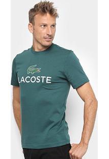 Camiseta Lacoste Logo Masculina - Masculino-Musgo