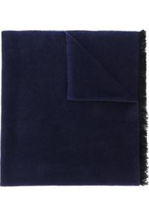 Alexander Mcqueen Cachecol De Tricô Com Franjas - Azul