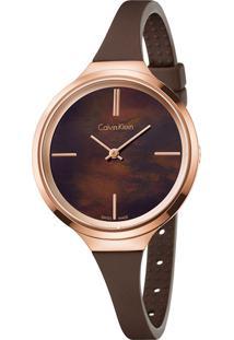 Relógio Calvin Klein Feminino Em Silicone Marrom