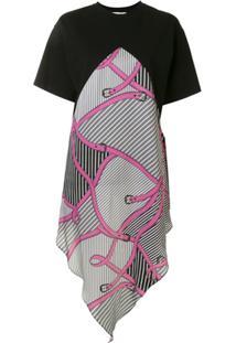 Msgm Vestido Reto Assimétrico Com Estampa De Cinto - Preto