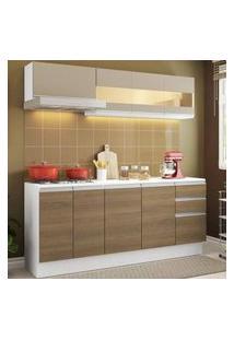 Cozinha Compacta 100% Mdf Madesa Smart 180 Cm Modulada Com Balcão E Tampo Branco/Rustic/Crema Branco/Rustic/Crema