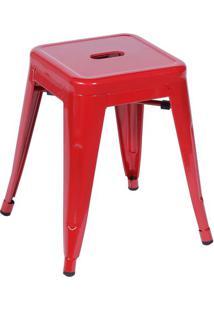 Banqueta Retrô- Vermelha- 46X39,5X39,5Cm- Or Desor Design