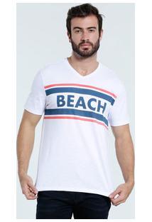 Camiseta Masculina Estampa Frontal Manga Curta Mar