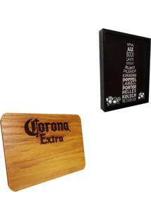 Quadro Porta Tampinhas Artesanal ''Cervejas Do Mundo'' + Tábua De Maderia Corona