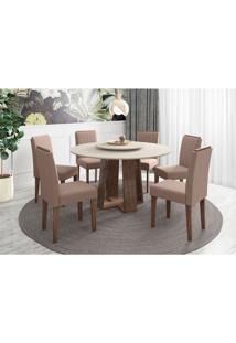 Conjunto De Mesa De Jantar Com Tampo Giratório Isabela E 6 Cadeiras Ana Veludo Off White E Marrom