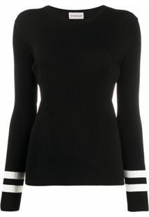 Moncler Blusa De Tricô Canelada Com Listras Contrastantes - Preto