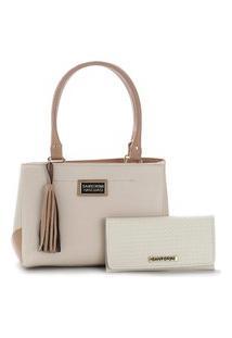 Bolsa Feminina Média Bicolor Mais Carteira Santorini Handbag Creme/Nude