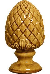 Escultura Decorativa Pinha Amarelo 18 Cm