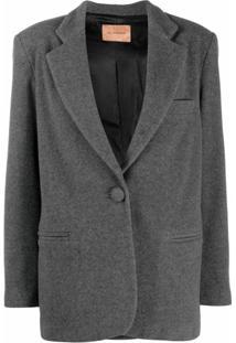 Andamane Blazer Com Abotoamento Simples - Cinza