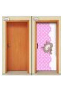 Adesivo Decorativo De Porta - Gatinho - Infantil - Rosa - 2062Cnpt