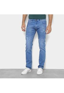 Calça Jeans Skinny Preston Puídos Cintura Média Masculina - Masculino