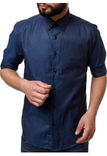 Camisa Manga 3/4 Masculina Elétron Azul Marinho