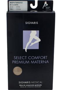 Meia Calça Materna Sigvaris Select Comfort Premium 20-30 Mmhg Ponteira Aberta M (Tamanho Médio) Normal (M2), Cor Bege