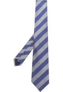 Saint Laurent Gravata Listrada De Seda - Azul