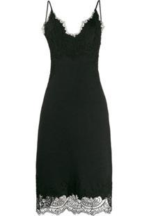 Ermanno Scervino Slip Dress Sem Mangas Com Aplicação De Renda - Preto