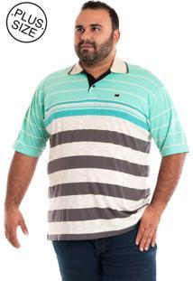 Camisa Polo Konciny Gola Bege Plus Size Verde/Bege
