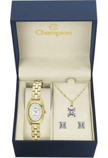 Kit Relógio Champion Feminino Steel - Ca29653W - Feminino-Dourado