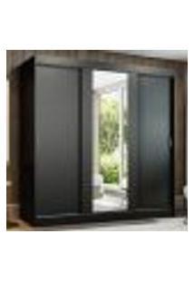 Guarda-Roupa Casal Madesa Reno 3 Portas De Correr Com Espelho - Preto