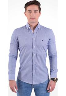 Camisa Social Masculina Slim Xadrez - Masculino-Azul