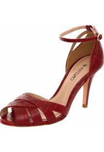 Sandália Veleno Couro Croco Vermelha