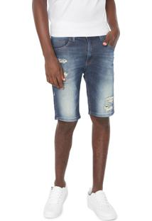 Bermuda Jeans Hd Slim Destroyed Azul