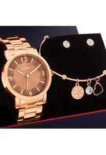 Kit Relógio Condor Feminino Com Bracelete E Brincos Coal2035Fnb/K4J