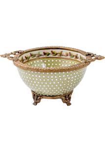 Vaso De Porcelana E Bronze Ii - Linha Flower