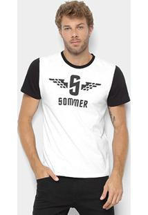Camiseta Sommer Manga Curta Masculina - Masculino-Branco
