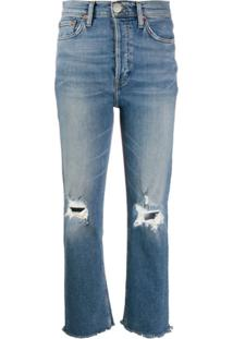 Re/Done High Waisted Distressed Jeans - Azul